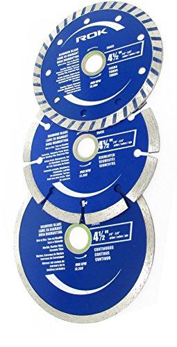 ROK 4-1/2 inch Diamond Saw Blade Set, Pack of 3