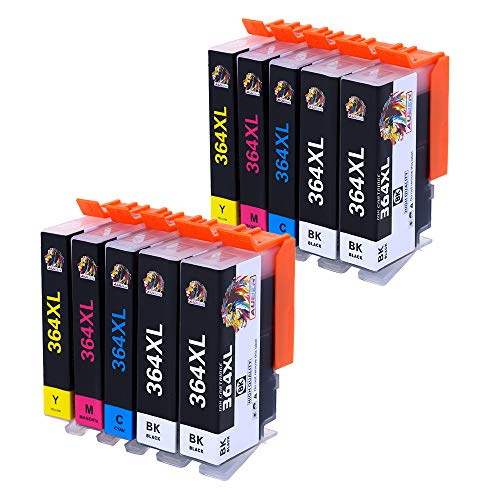 AUBEN 10 Compatible Remplacement des Cartouches d'encre pour HP 364 XL 364XL pour HP DeskJet 3520 3070A OfficeJet 4620 4622 Photosmart 5510 5514 5515 5520 5524 5525 6510 6520 7510 7520 e-All-in-One