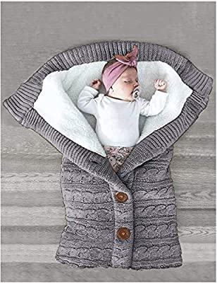XMWEALTHY Unisex Infant Swaddle Blankets Soft Thick Fleece Knit Baby Girls Boys Stroller Wraps Baby Accessory Grey by XMWEALTHY
