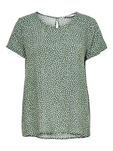 ONLY Womens ONLFIRST ONE Life SS AOP TOP NOOS WVN Blouse, AOP:KARO DOT Chinois Green, 38