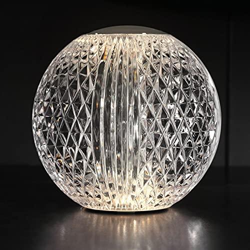AGM Lámpara de Cristal, Lámpara de Mesa de Diamante | Luz Ajustable | Luz de Noche LED Redonda de 8cm / 3,15inch Diámetro | Lámpara de Noche Recargable y Portátil para Dormitorio, Sala de Estar, Bar