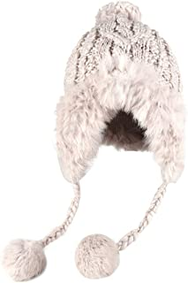fe33d4b2c3c0a Bomber Caps Ear Flaps Winter for Women Rabbit Fur Knitting Hat Girl Warm  Solid Color Cozy