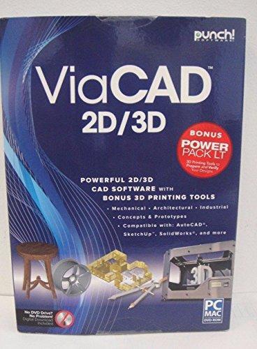 New Punch ViaCad 2D/3D Power Pack LT PC or Mac 3D Printer Support