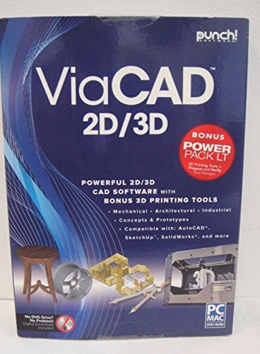 New Punch ViaCad 2D/3D Power Pack LT PC or Mac 3D Printer Support