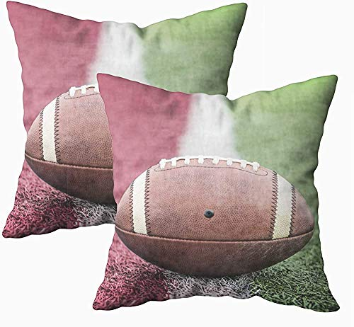 Fundas de almohada, 2 piezas de primer plano del fútbol americano que descansa la línea de portería de fútbol americano con aspecto de estadio de fútbol de 45 x 45 cm, fundas de almohada para sofá