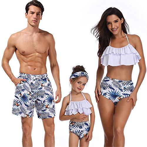 Mujer Bikinis de Mujer Conjuntos Traje de baño Familiar para niñas Mamá y yo Traje de baño Floral Azul para niño y papá Ropa de Playa Trajes Familiares