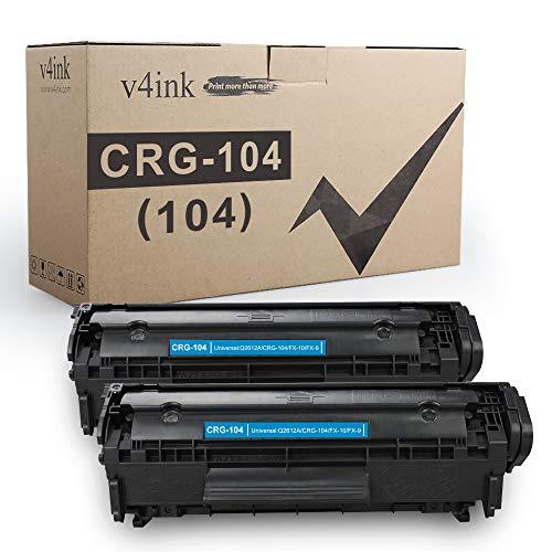 V4INK 2PK Compatible Toner Cartridge Replacement for Canon 104 CRG-104 FX-9 FX-10 Toner Cartridge Ink for use in Canon Imageclass D420 D450 D480 MF4150 MF4350D MF4270 MF4370DN MF4380DN Printer