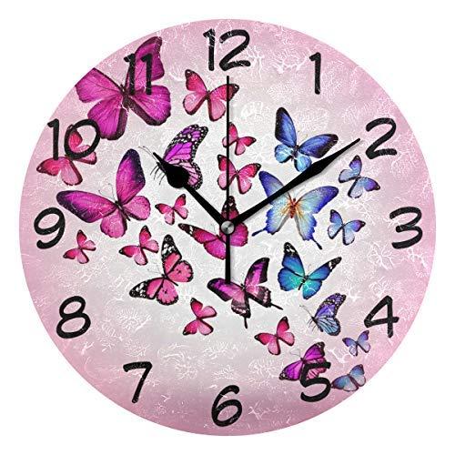 Amyeden, orologio da parete in legno con farfalle rosa, decorazione rotonda, 30,5 cm, per casa, ufficio, scuola