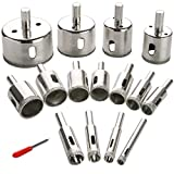 Diamond Drill Bit Set Hole, 15PCS Hole Saw Set for Glass, Marble, Granite Stone