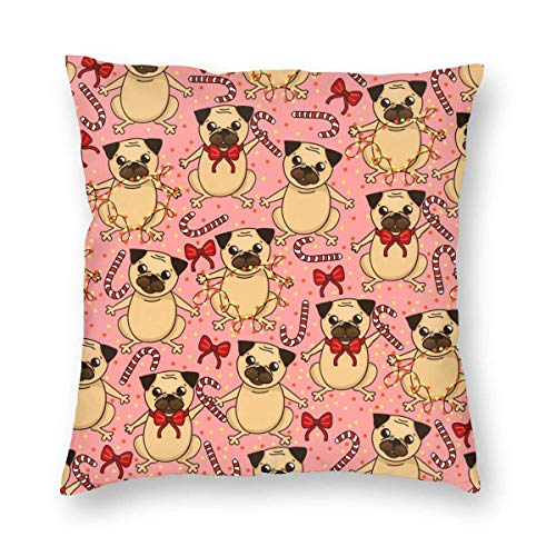 Moily Fayshow Throw Pillow Decorative Cushion Cover Pillowcase Cute Pug And Lollipops Pattern 40 X 40 Cm