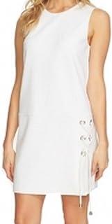CeCe White Women's US Size 10 Lace Up Drop-Waist Crepe Shift Dress
