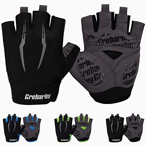 Grebarley Cycling Gloves Bike Bicycle Gloves Gym Gloves Mountain Road Anti-Slip Shock-Absorbing Gel Pad Light Weight Breathable MTB Biking Gloves for Men Women (Black, L)