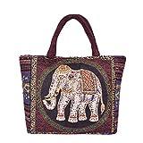N-B Bolso de hombro de las mujeres Mochila retro tejida a mano mariposa elefante impresión bohemio chino étnico ligero casual gran capacidad bolso