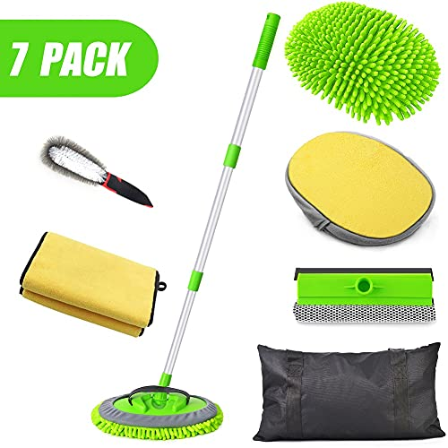 Conliwell Car Wash Brush Kit, Car Cleaning Kit, Car Wash Kit, Car Wash Mop Brush Kits with 45'Aluminum Long Handle, Windshield Squeegee, Wheel Tire Brush, Microfiber Cleaning Cloths, Car Detailing Kit