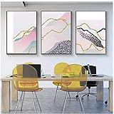 抽象的なカラーラインカーブヒルズキャンバスアートプリントポスター画像壁現代家の装飾-50x70cm / 19.6x27.5インチ/フレームなし