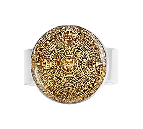 bab Maya-Kalender, Anhänger, Maya-Kalender, Schmuck, Azteken-Kalender, Verstellbarer Ring, Literaturschmuck
