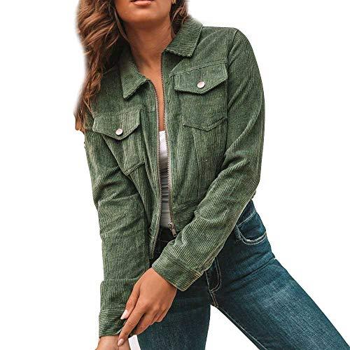 Fanxing Damen Jacken Kurzmantel Cord Tasche Winter Langarm Warm Fashion Mantel Halten (XL, Grün)