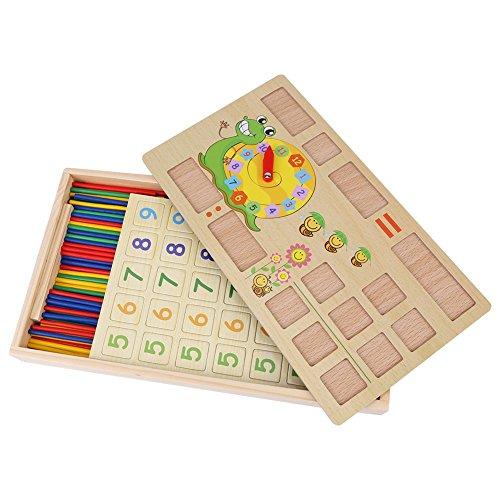 Fdit Lernspielzeug aus Holz für Kinder, Vorschullehrwerkzeug, Mathematik-Zählstäbe mit Tafel und Uhr (Schnecke)