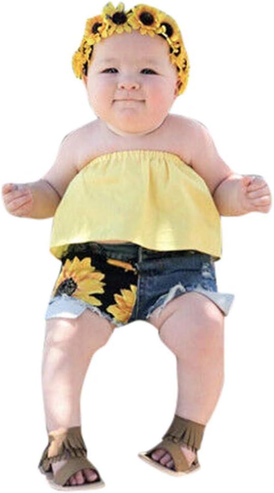 Luckycat Conjunto Rope para Bebe niña Verano Hombro Camisa para Niñas sin Tirantes Blusa Moda Tops para Chica Girasol Denim Pantalones Cortos+Blusa: Amazon.es: Ropa y accesorios
