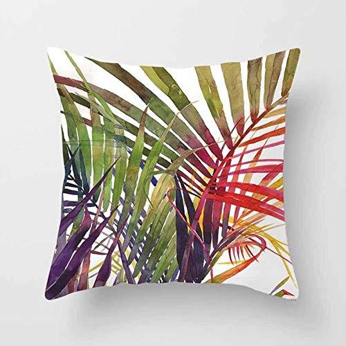 Tings Tropical Plants Kussensloop Polyester Decoratieve kussenslopen Groene bladeren Sierkussen, 12.450 * 450 mm