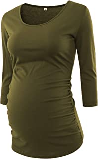 BBHoping Women's Maternity Tops 3/4 Sleeve Round Neck Classic Side Ruched Pregnancy T-Shirt