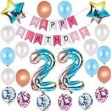 Juego de globos de decoración para 22 cumpleaños con arco iris, para...