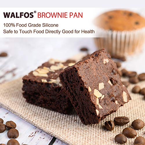 Walfos Silicone Brownie Pan - 9-Cavity Non-stick Square Baking Pan, Perfect for Brownies, Cornbread, Muffin and Cakes, BPA Free and Dishwasher Safe