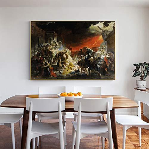Wall Art Dekorative Malerei Der Letzte Tag Von Pompeji Von Karl Bryullov, Berühmte Gemälde Kunst-Leinwand Bild For Raum Kein Rahmen Drucken (Size : A3 30x42cm No Frame)