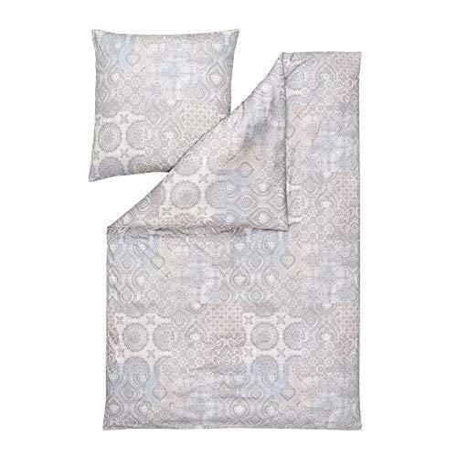 ESTELLA Bettwäsche Valentina | Silber | 135x200 + 80x80 cm | bügelfreie Interlock-Jersey-Qualität | pflegeleicht und trocknerfest | ideale Vier-Jahreszeiten-Bettwäsche | 100% Baumwolle