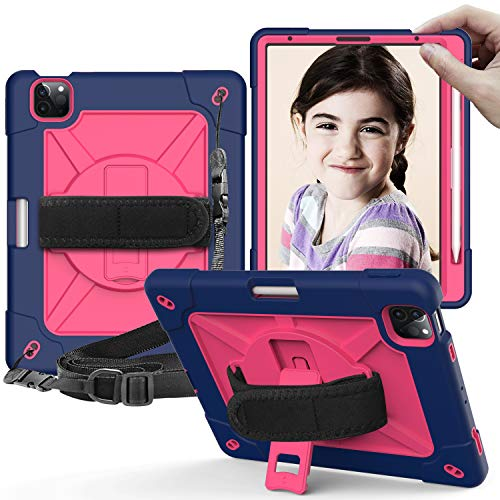 iPad Air 4th Generation Case 2020, iPad 10.9 Case, UZER Heavy Duty Shockproof Anti-Slip Kickstand Silicone Rugged Three Layer Armor Protective Case with Shoulder Strap for iPad Air 4 10.9 Inch 2020