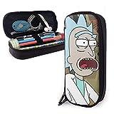 Rick y Morty Temporada 4 Estudiantes Bolsas de papelería Estuche para lápices Estuche de cuero Pu Estuche para bolígrafos con cremallera para la escuela Suministros de oficina en casa ^ A2