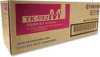 Kyocera 1T02KVBUS0 Model TK-592M Magenta Toner Cartridge, For M6026cidn, M6526cdn, M6526cidn, P6026cdn, FS-C2026MFP, FS-C2126MFP, FS-C2126MFP+, FS-C2526MFP, FS-C2626MFP and FS-C5250DN Printers