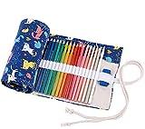 abaría - Estuche Enrollable para 72 lápices Colores, portalápices de Lona - Gato Azul (no Tiene...