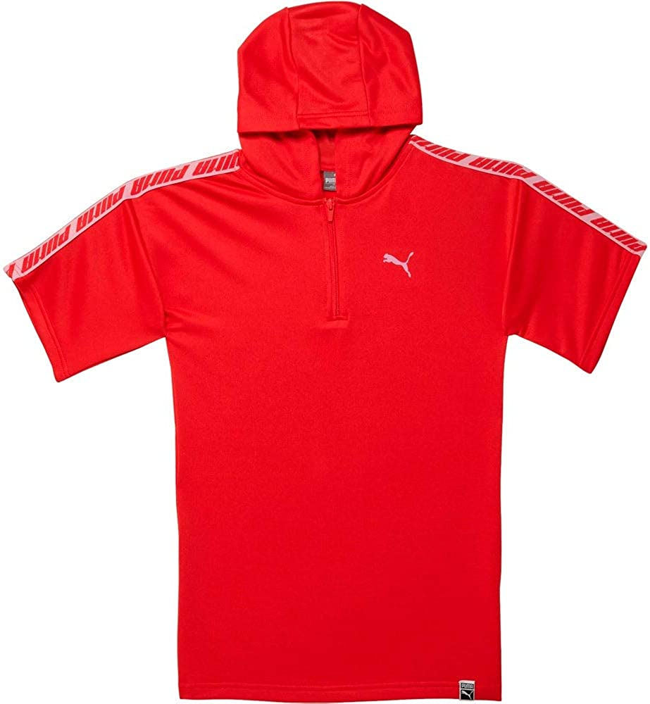 Puma Kids Girls Cotton Fleece Oversized Half-Zip Hoodie Dress Fleece - Red