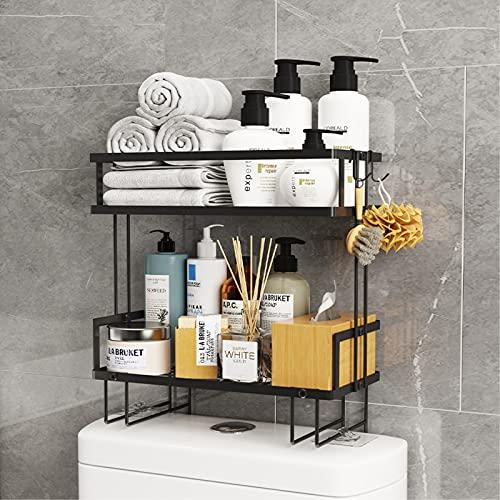 RYUNQ Estantería Inodoro sobre el WC 2 Niveles, Estantes de baño Pequeños de Gran Capacidad, Armario para Lavadora Estantería de Metal, Impermeable y Antioxidante Estanteria WC para Baño (Negro)