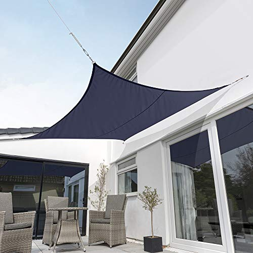 "Kookaburra Waterproof Blue Sun Shade Sail Garden Patio Gazebo Awning Canopy 98% UV Block with Free Rope (17ft 9"" Square)"