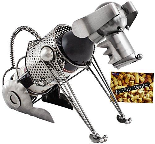 BRUBAKER portabottiglie con cane bottiglia supporto Oggetto Decorativo Metallo con biglietto d' auguri per vino regalo