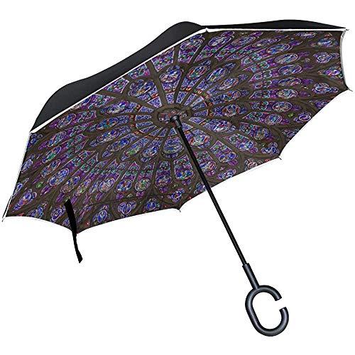 Alice Eva Inverted Umbrella Wende-Regenschirm Large Rosette Notre Dame De Paris Reverse-Reiseschirm Wende-Regenschirm Large