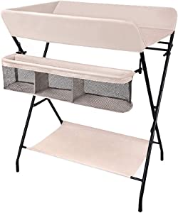 Newborn Diaper Table  Baby Changing Station with Storage  Foldable Nursery Dresser Station for 0-3 Years Old