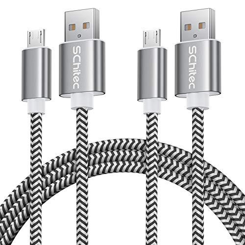 Micro USB Kabel, Micro USB Schnellladekabel USB 2.0 A Nylon Geflochtenes High Speed Sync und Ladekabel für Samsung Galaxy Note,Nexus,HTC,LG,Nokia,Kindle und mehr Android Gerät (2Pack-3M)