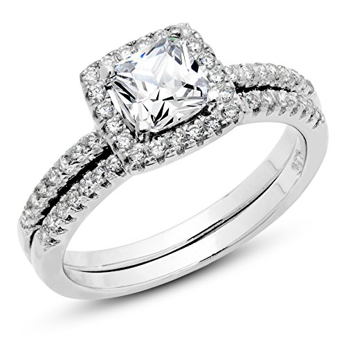 Metal Factory 925 Sterling Silver Cushion Cubic Zirconia CZ 2Pc Halo Wedding Engagement Ring Set Sz 5