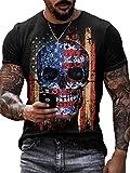 Camisetas con Estampado gráfico de Calavera para Hombre Camiseta de Motociclista Camisetas de Manga Corta con Rayas de la Bandera Americana