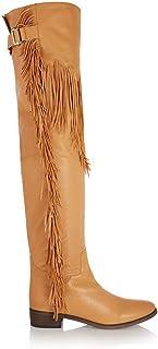 Platte dameslaarzen,Mode omzoomd Kniehoge laarzen,hoge laars met riem gespen geschikt partij uitstapjes Grote maat,Yellow,39