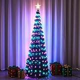 HGFDSA Árbol De Navidad con Luces, Árbol De Navidad Plegable Artificial De 5 Pies con Adorno De árbol De Estrellas Y 234 Luces LED, 18 Modos De Iluminación, Función De Control Remoto Y Temporizador