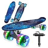 22' Skateboard Planche à roulettes avec LED Light Up Roues, Table en Plastique Renforcé, Mini Cruiser Roulement ABEC-7, pour Fille Garçon Débutant (Miti-Blue)