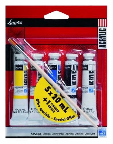 Lefranc & Bourgeois Louvre - Pack de 5 tubos de pintura acrílica, color Rojo, azul, amarillo, blanco y negro 20 ml