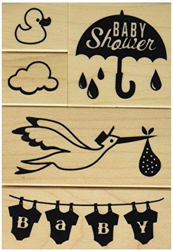 Inkadinkado Baby Shower Mounted Rubber Stamp Set, 5 pc