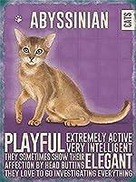 ヴィンテージ金属サインアビシニア猫飾りプラークギフトウォールインテリア