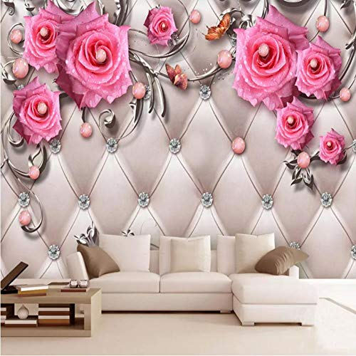 Papel pintado Mural 3D no tejido personalizado-Perla Diamante Rosa Rosa Arte 3D Mural Sala de estar Dormitorio Decoración Fondo Pared Decoración XXL-350(w) x256(H) cm