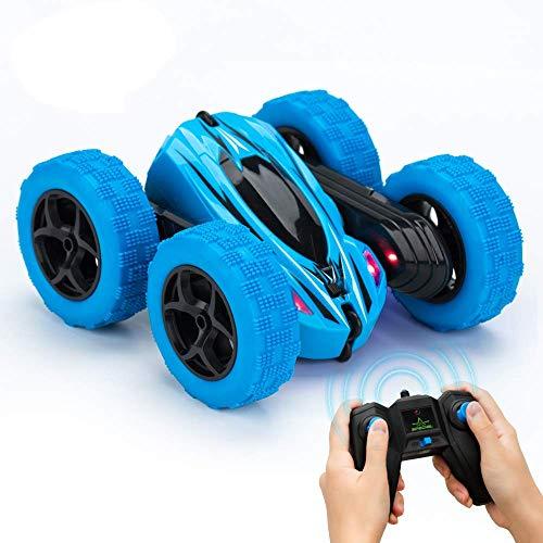 Twister.CK RC Stunt Car con Telecomando, 2.4 GHz RC Racing Trucks off Road, 4WD Double Sided 360 ° Spins & Flips RC Crawler Giocattoli da Esterno per Bambini, Blu